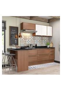 Cozinha Modulada Multimóveis 5455R Calábria 8 Peças Nogueira/Branco