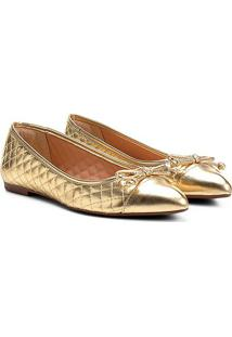 Sapatilha Shoestock Matelassê Bico Fino Feminina - Feminino-Dourado