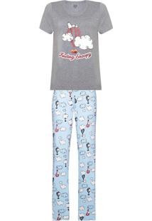 640f7dc65d4f2b Conjunto De Pijama Estampado Feminino Em Manga Curta E Calça Estampada -  Peanuts