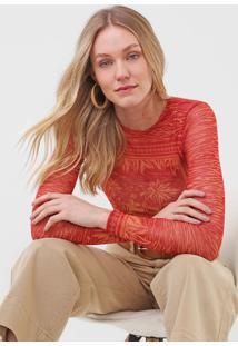 Blusa Maria Filã³ Cidade Tule Vermelha/Laranja - Vermelho - Feminino - Poliã©Ster - Dafiti
