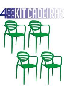 Kit 4 Cadeiras Stripe Com Braço Verde