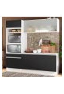 Cozinha Compacta Madesa Topazio Com Balcão E Tampo - Branco/Preto
