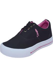 Tênis Casual Star Feet Fa022 Com Cadarço Preto E Pink