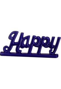 Escultura Decorativa Happy Azul 12,5X30 Cm