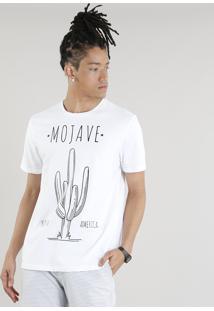 Camiseta Masculina Cacto Mojave Manga Curta Gola Careca Off White