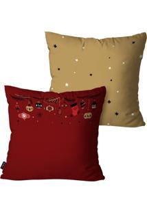 Kit Com 2 Capas Para Almofadas Pump Up Decorativas Natalinas Decoração Natal Vermelha 45X45Cm