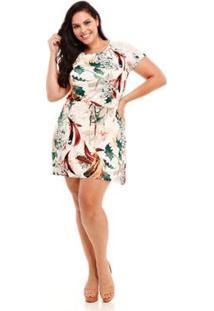 Shorts Melinde Plus Size Viscolycra Listrado Feminino - Feminino-Off White
