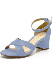 Sandália Salto Médio Flor Da Pele 180600 Azul