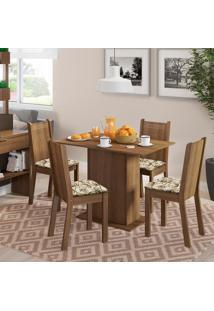 Conjunto Sala De Jantar Lexy Madesa Mesa Tampo De Madeira Com 4 Cadeiras Marrom - Tricae