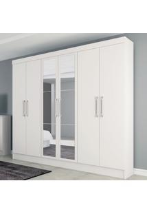 Guarda-Roupa Casal Genova 6 Portas 4 Gavetas Com Espelho Branco Brilho - Atualle Móveis