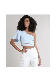 Blusa Feminina Um Ombro Só Com Linho E Vazado Manga Curta Azul Claro
