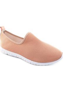 Tênis Sock Sneaker Stretch Sapato Show Feminino - Feminino-Nude