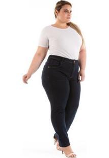 Calça Jeans Feminina Confidencial Extra Tradicional Reta Plus Size - Feminino-Marinho