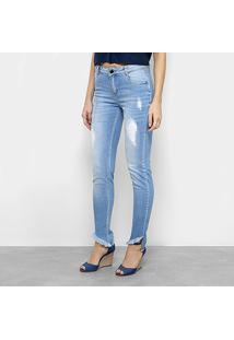Calça Jeans Slim Morena Rosa Isabelli Puídos Barra Desfiada Cintura Média Feminina - Feminino-Azul Claro