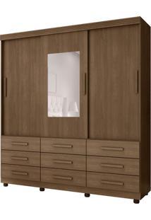 Guarda-Roupa Casal Com Espelho Ascoli 3 Pt 9 Gv Chocolate