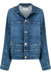 Balenciaga Jaqueta Jeans Upside Down - Azul