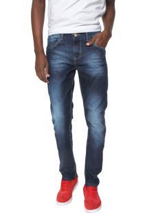 Calça Jeans Rock Blue Skinny Estonada Azul