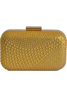 Clutch Lisbella Textura Circular Dourado