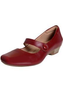 Sapato Laura Prado Fechado Boneca Confort Vermelho