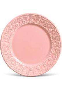 Conjunto De Pratos Raso Com 06 Peças Em Cerâmica Madeleine Rosa - Porto Brasil