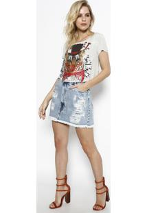 "Camiseta Cropped ""The Show"" - Cinza & Vermelha - My My Favorite Things"