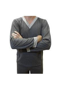 Pijama Masculino Longo Blusa E Calça Comprida Com Detalhe Estampado - Cinza Escuro