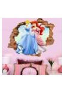 Adesivo De Parede Buraco Falso 3D Cinderela E Ariel - P 45X55Cm