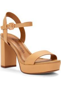 Sandalia Salto Alto Tiras A Fio Caramelo
