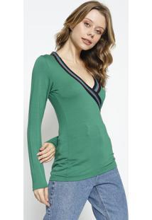 Blusa Com Brilho- Verde & Azul Marinho- Colccicolcci