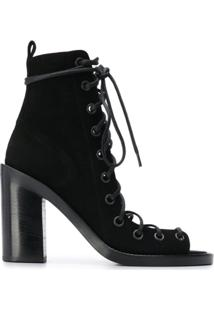 Ann Demeulemeester Ankle Boot Com Abertura Frontal - Preto