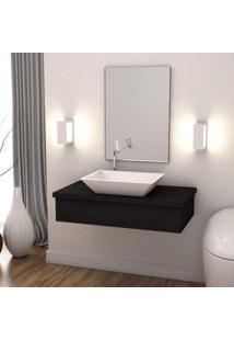 Conjunto Bancada Para Banheiro 80Cm Com Cuba Rt45 E Espelheira 801W Metrópole Compace Preto Onix