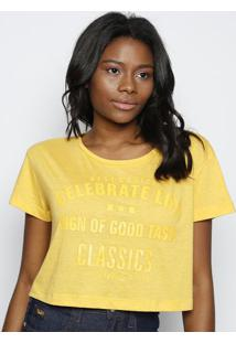 Camiseta Cropped ''Celebrate Life'' - Amarela - Cocacoca-Cola