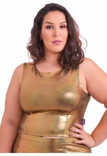 Blusa Amme Cropped Dourada Plus Size