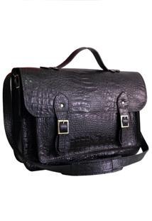 Bolsa Line Store Leather Satchel Grande Couro Preto Croco. - Preto - Dafiti