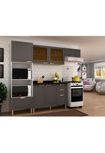 Cozinha Compacta Nevada Iii 6 Pt 4 Gv Grafite E Branca