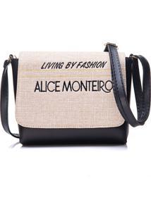 Bolsa Alice Monteiro Com Tampa Frase Preta
