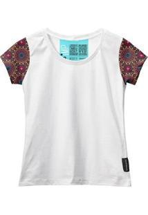 Camiseta Baby Look Feminina Algodão Mandala Estilo Moda Leve - Feminino-Branco