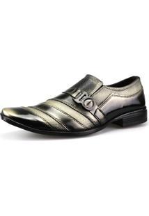 Sapato Social Neway Masculino Preto E Dourado