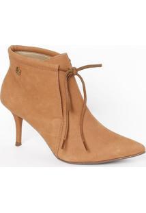 Bota Ankle Boot Com Amarração - Marrom - Salto: 8Cmlança Perfume