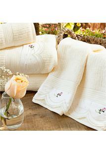 Toalhas De Banho Gigante Essenza Cor Palha E Flores Com 5 Peças - Ruth Sanches - Tricae