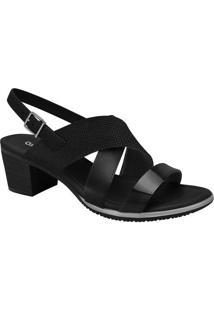 Sandália Com Tiras- Preta- Salto: 5Cmcomfortflex