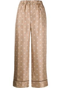 Fendi Ff Karligraphy Pijama Trousers - Neutro