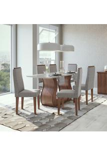 Conjunto De Mesa De Jantar Com 6 Cadeiras Dafne L Linho Off White E Cinza
