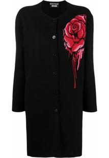 Boutique Moschino Bleeding Rose Cardigan - Preto