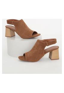 Sandal Boot Feminina Oneself Salto Médio De Madeira Caramelo