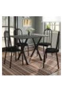Conjunto De Mesa Miame 110 Cm Com 4 Cadeiras Madri Preto E Preto Liso