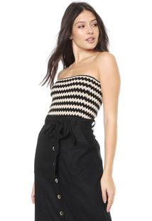 Top Tomara Que Caia Dress To Tricot Luya Bege/Preto