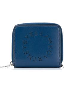 Stella Mccartney Carteira Com Logo Perfurado - Azul