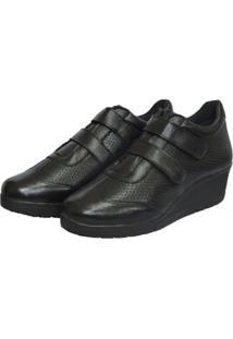 Sapato Anabela Couro Italeoni Velcros Preto
