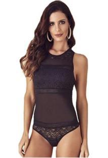 Body Feminino Com Renda E Detalhes Em Transparência Liebe - Feminino-Preto